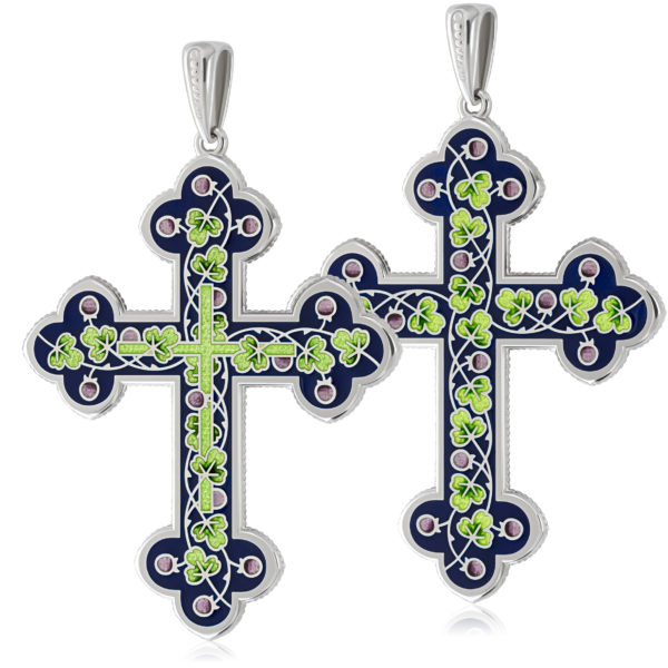 Нательный крест, зеленый