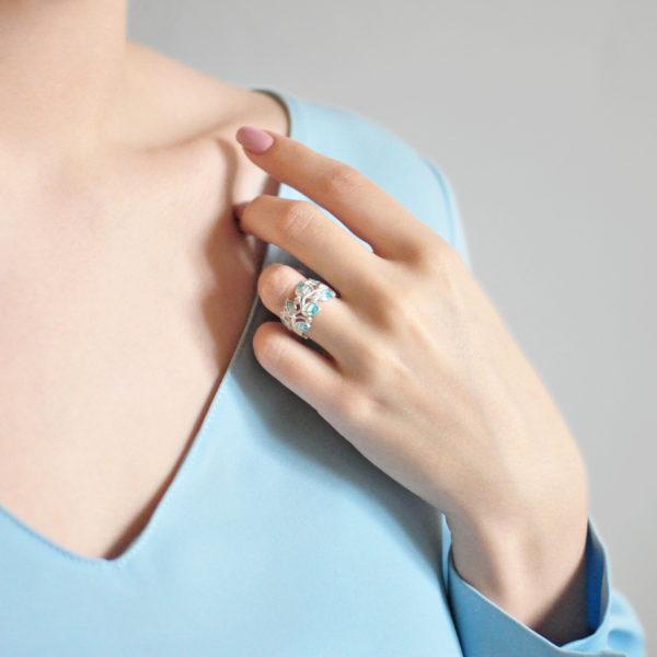 Кольцо «Мелисса», голубая