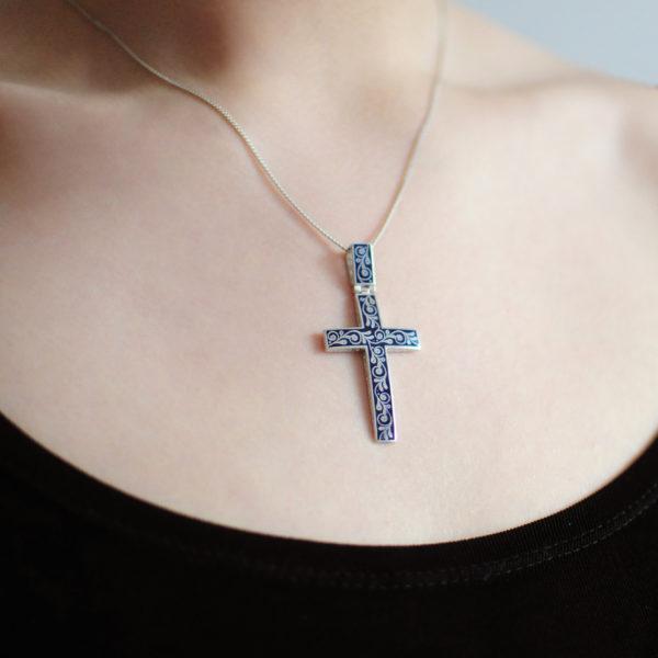 Serebro sinyaya 2 600x600 - Нательный крест «Спас на крови», синий