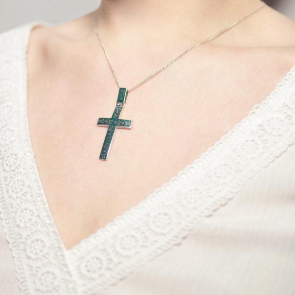 """Serebro zelenaya 1 600x600 - Нательный крест """"Спас на крови"""", зеленый"""