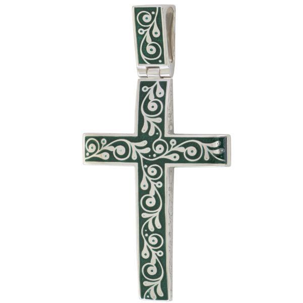 """Serebro zelenaya 1 1 600x600 - Нательный крест """"Спас на крови"""", зеленый"""