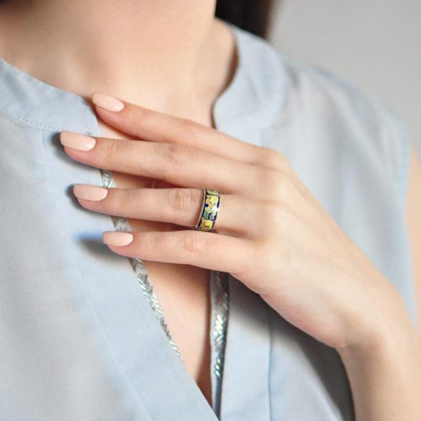 Serebro zheltaya 600x600 - Кольцо из серебра «Тюльпаны», желтое