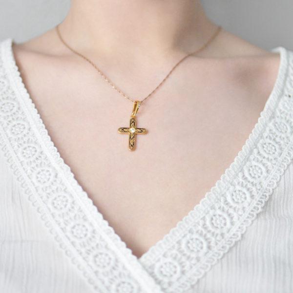 Zolochenie fioletovaya 600x600 - Нательный крест «Спас на крови» (золочение), фиолетовый