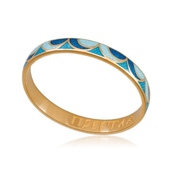 Zolochenie sine goluboe 1 600x600 - Кольцо «Седмица» (золочение), сине-голубая
