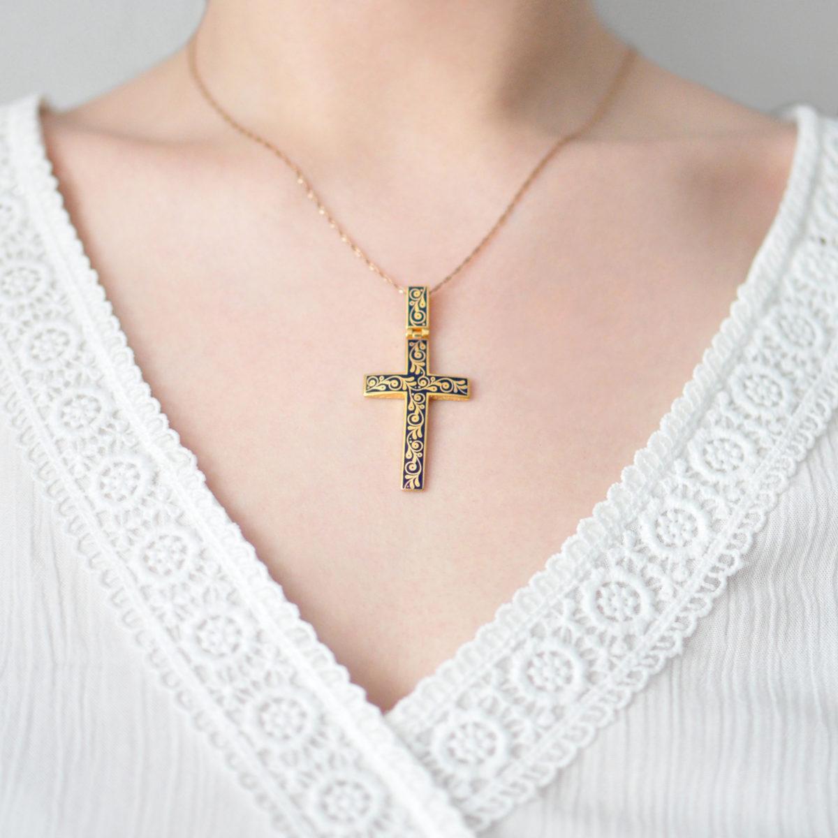 Zolochenie sinyaya 1 1200x1200 - Нательный крест «Спас на крови» (золочение), синий