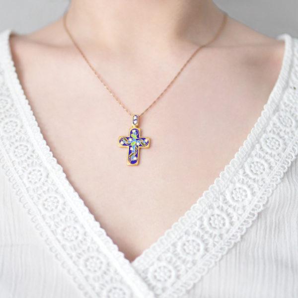 Zolochenie sinyaya 2 600x600 - Нательный крест «Спас на крови» (золочение), синий
