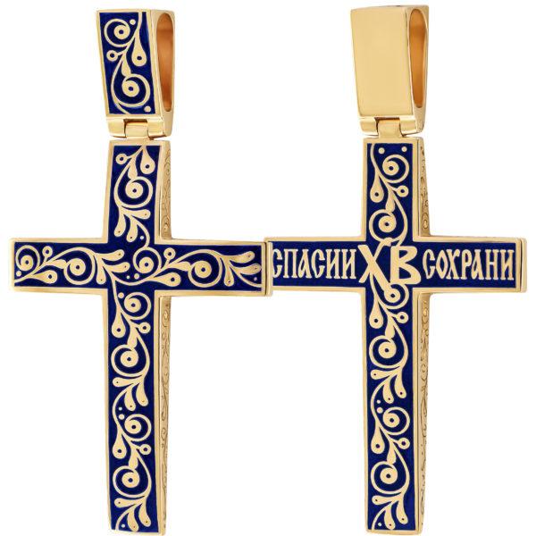 """Zolochenie sinyaya 1 600x600 - Нательный крест """"Спас на крови"""" (золочение), синий"""