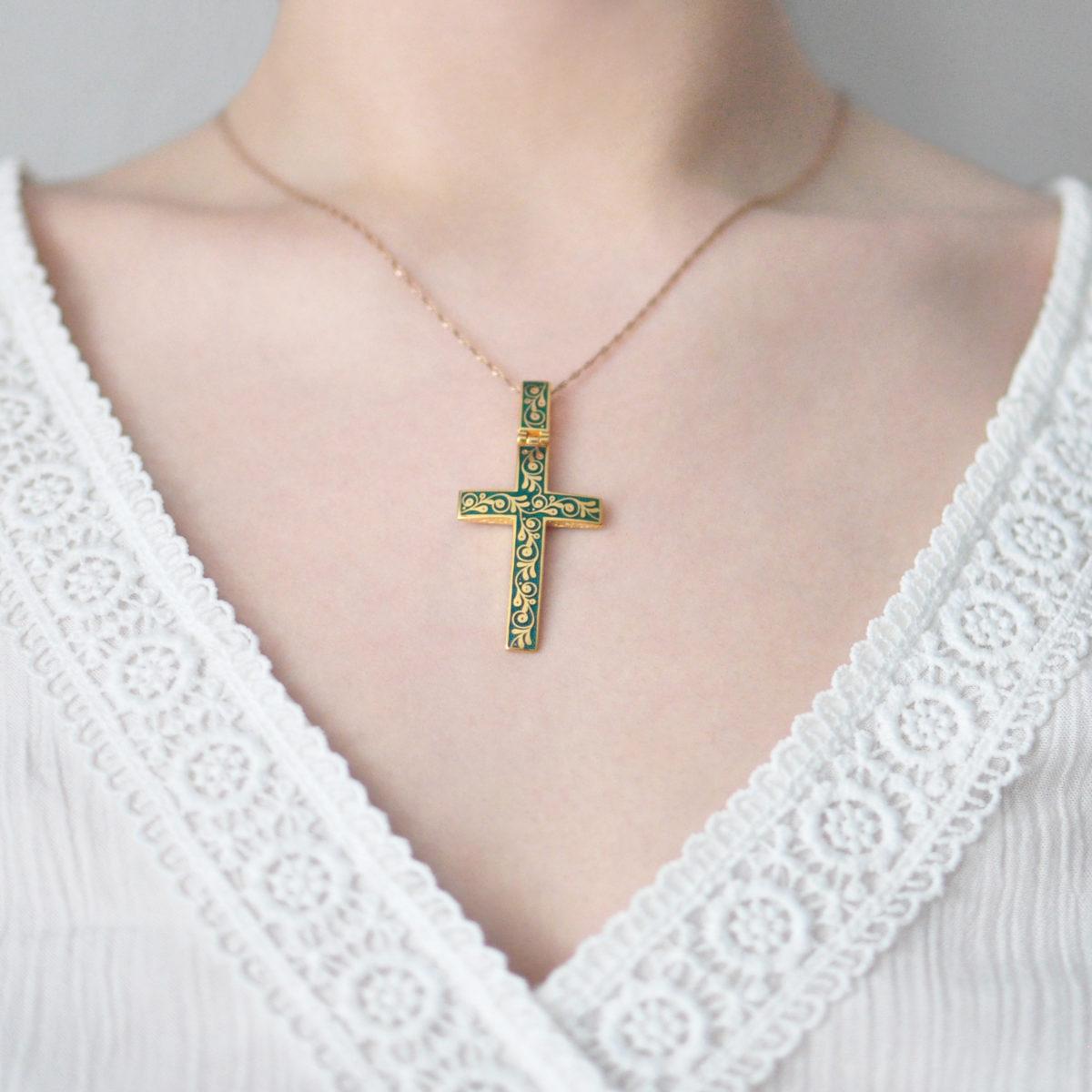 Zolochenie zelenaya 1200x1200 - Нательный крест «Спас на крови» (золочение), зеленый