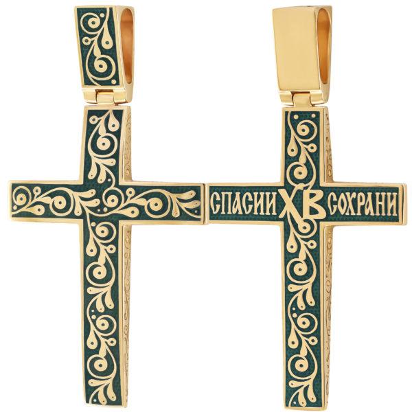 """Нательный крест """"Спас на крови"""" (золочение), зеленый"""