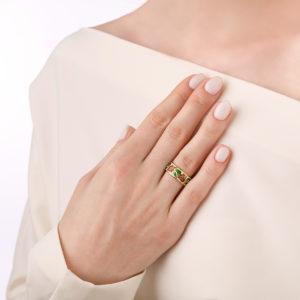 kolczo tyulpany 61.136z krasnaya 300x300 - Кольцо из серебра «Тюльпаны» (золочение), красно-белое