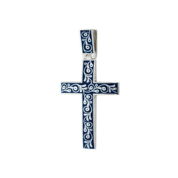 """serebro sinyaya 1 1200x1200 1 600x600 - Нательный крест """"Спас на крови"""", синий"""