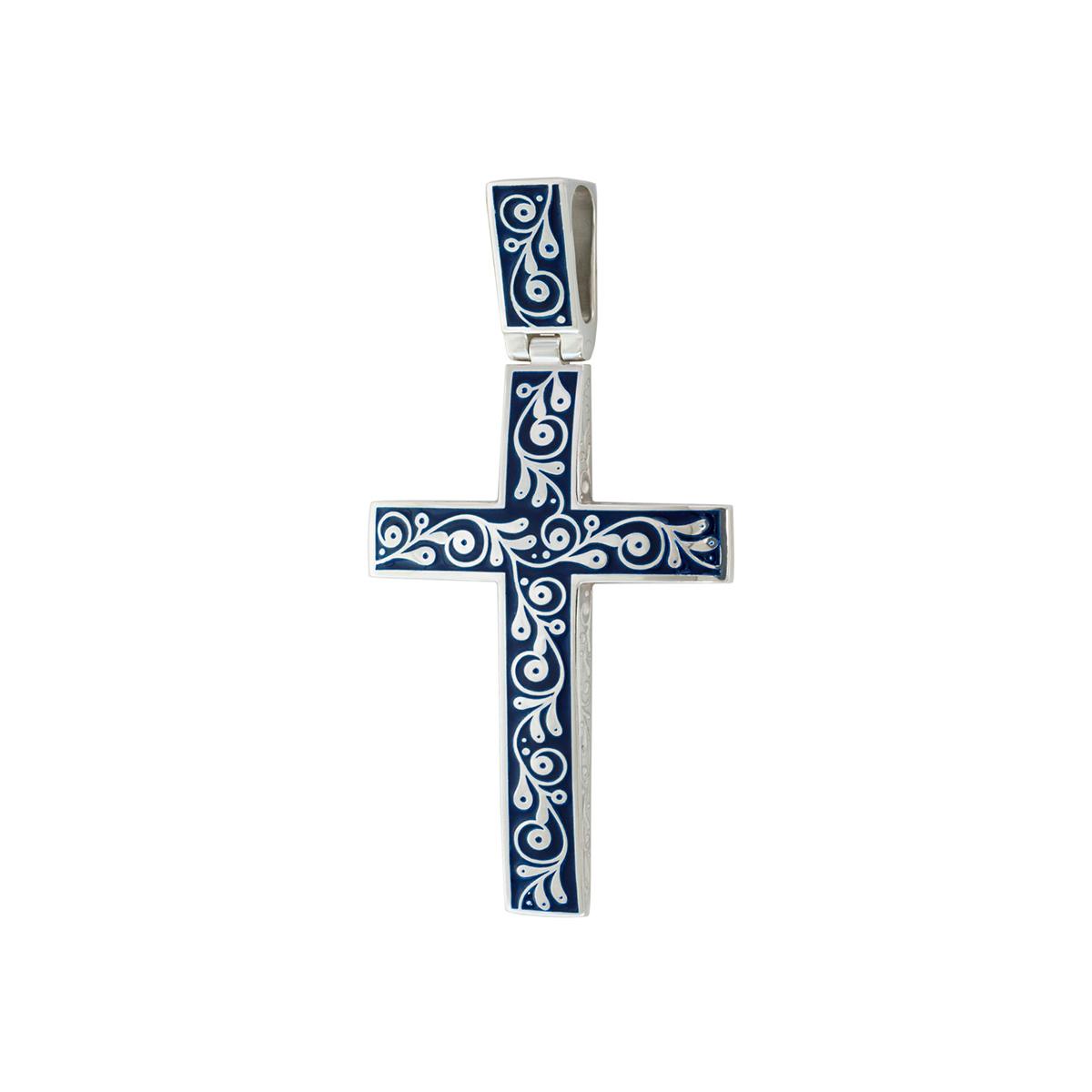 """serebro sinyaya 1 1200x1200 1 - Нательный крест """"Спас на крови"""", синий"""