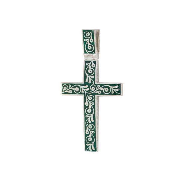 serebro zelenaya 1 1 1200x1200 1 600x600 - Нательный крест «Спас на крови», зеленый