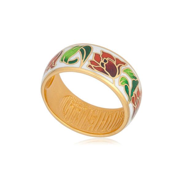 zolochenie krasno belaya 1 1 600x600 - Кольцо из серебра «Тюльпаны» (золочение), красно-белое