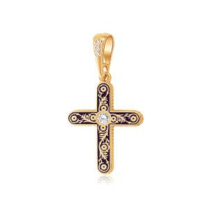 zolochenie sinyaya 1 2 1200x1200 1 300x300 - Нательный крест «Спас на крови» (золочение), фиолетовый