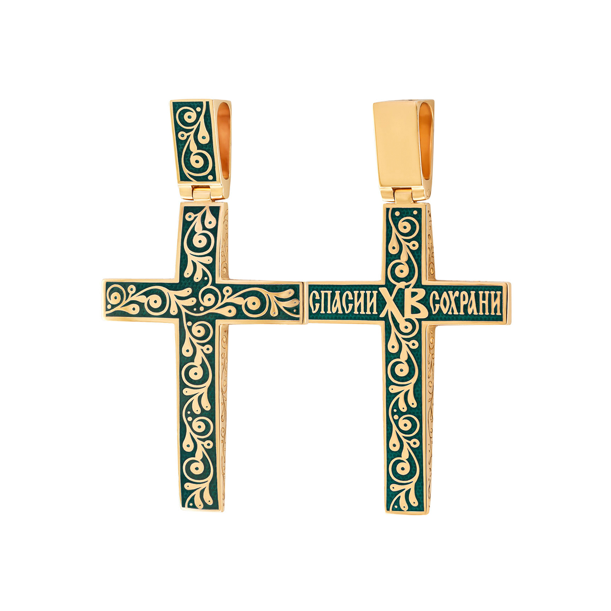 """zolochenie zelenaya 1 1200x1200 1 - Нательный крест """"Спас на крови"""" (золочение), зеленый"""