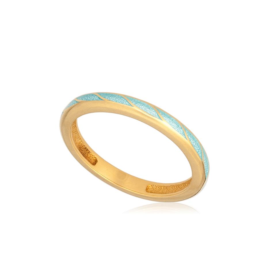 61 159 1z 1 - Кольцо «Принцесса на горошине» (золочение), голубое
