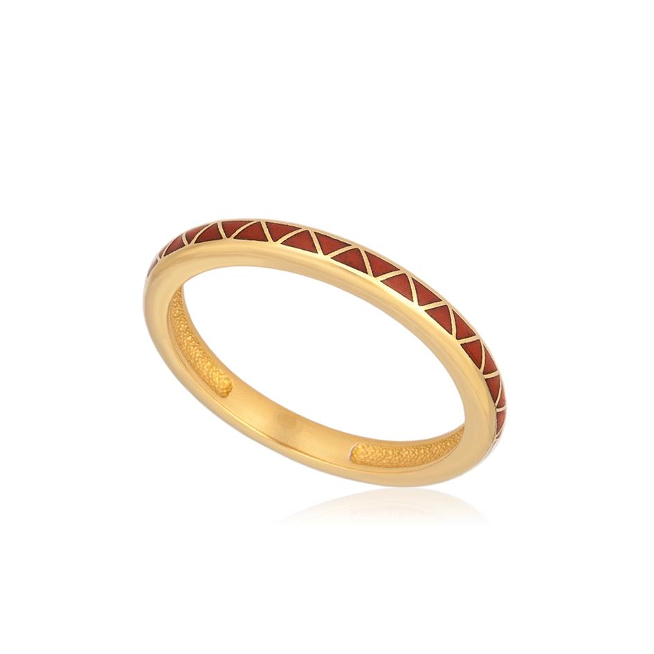61 160 2z 1 - Кольцо из серебра «Принцесса на горошине» (золочение), красное