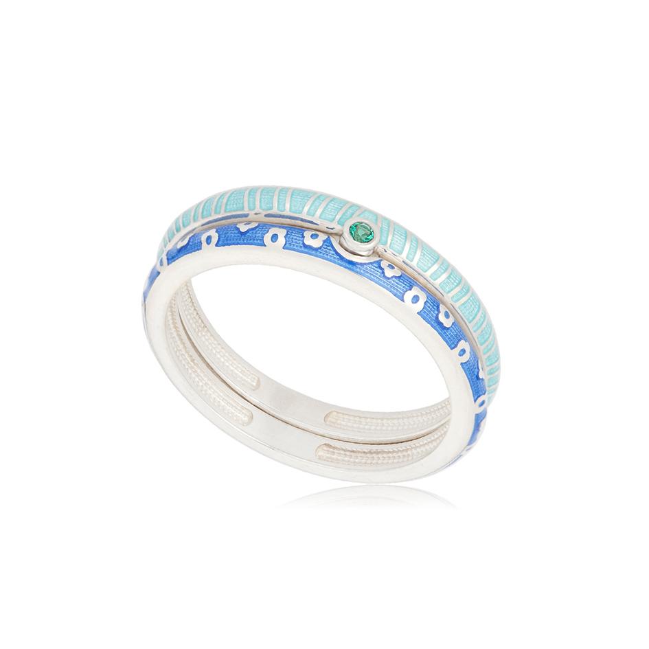 61 161 1s 1 - Кольцо из серебра «Принцесса на горошине», сине-голубое с фианитами