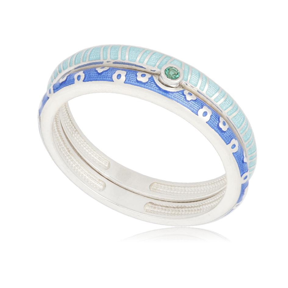 61 161 1s - Кольцо «Принцесса на горошине», сине-голубое