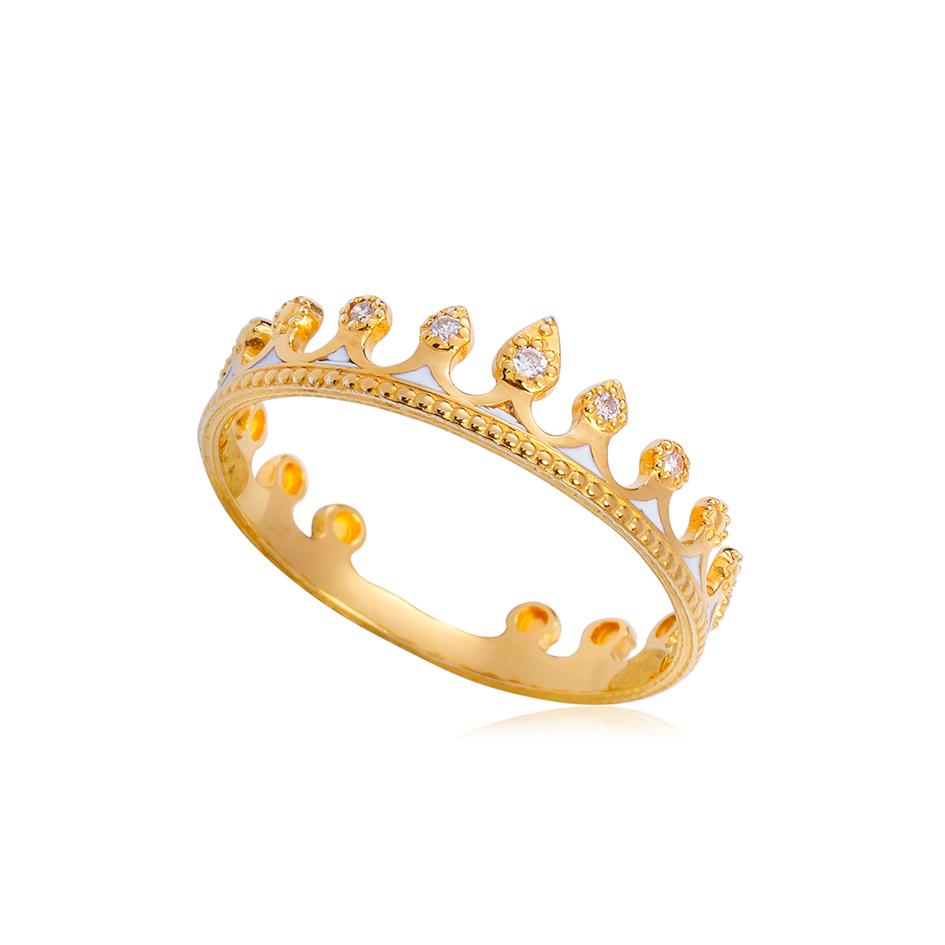 61 171z v2 - Кольцо из серебра «Принцесса на горошине» (золочение), белое