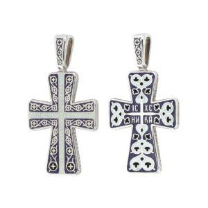8 300x300 - Нательный крест из серебра «Молитва мытаря», фиолетовый