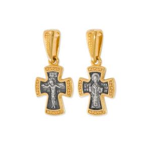 8.38 300x300 - Нательный крест из серебра «Распятие Господне. Николай Чудотворец»