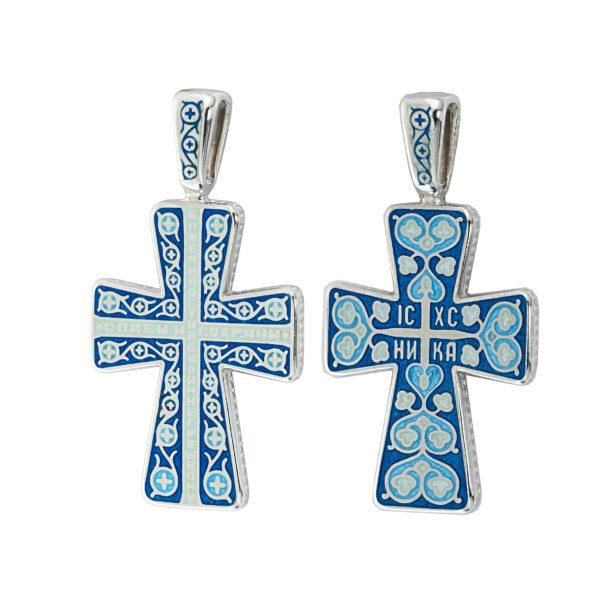 """8.69 1 600x600 - Нательный крест из серебра """"Молитва мытаря"""", голубой"""
