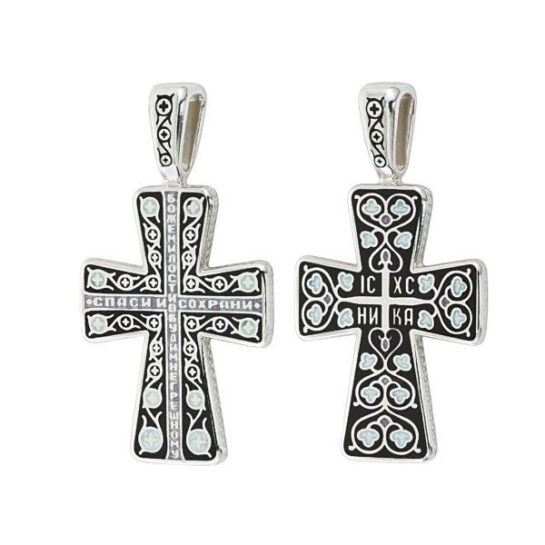 """8.69 2 600x600 - Нательный крест из серебра """"Молитва мытаря"""", черный"""