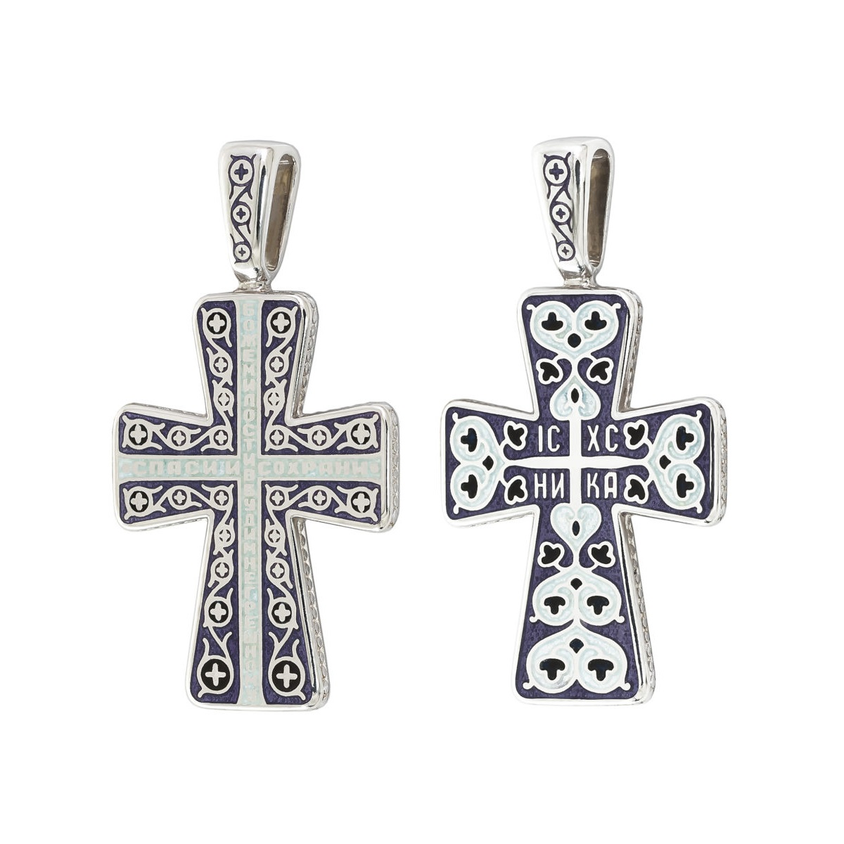 """8 - Нательный крест из серебра """"Молитва мытаря"""", фиолетовый"""