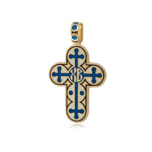 8 71 1z 300x300 - Нательный крест из серебра «Молитва мытаря» (золочение), синее