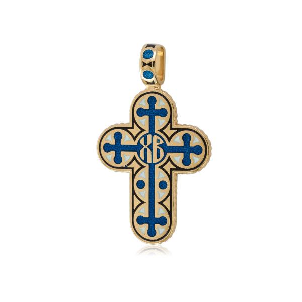 8 71 1z 600x600 - Нательный крест из серебра «Молитва мытаря» (золочение), синее