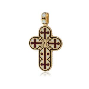 8 71 2z 300x300 - Нательный крест из серебра «Молитва мытаря» (золочение), красный