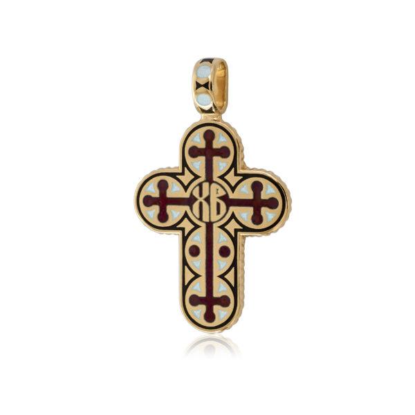 """8 71 2z 600x600 - Нательный крест из серебра """"Молитва мытаря"""" (золочение), красный"""