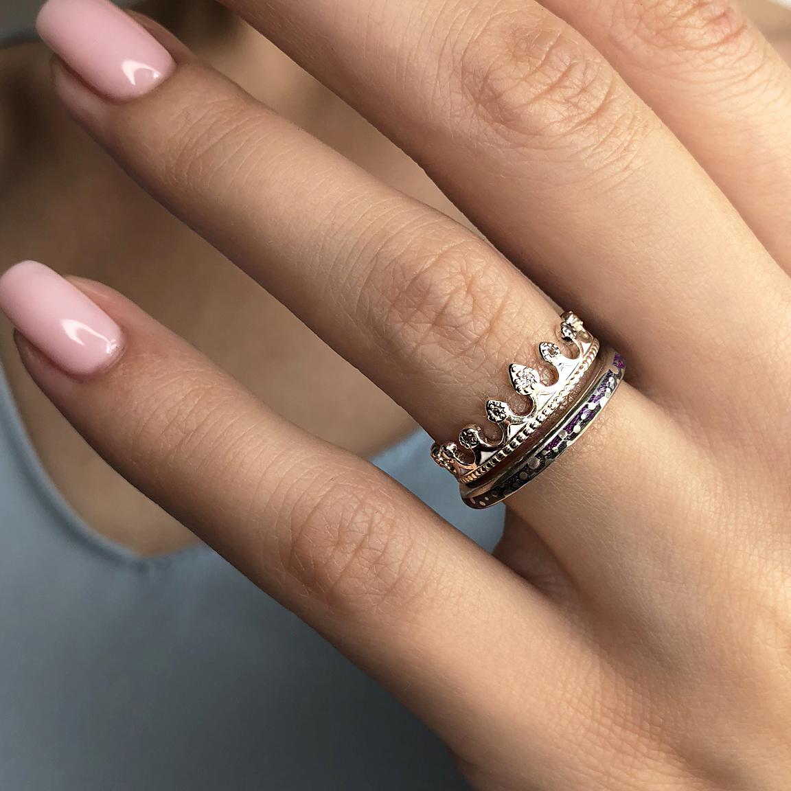 p - Кольцо из серебра «Принцесса на горошине», белое с фианитами