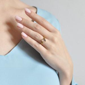 61.202z fioletovaya 300x300 - Кольцо из серебра «Бабочка» (золочение), фиолетовое