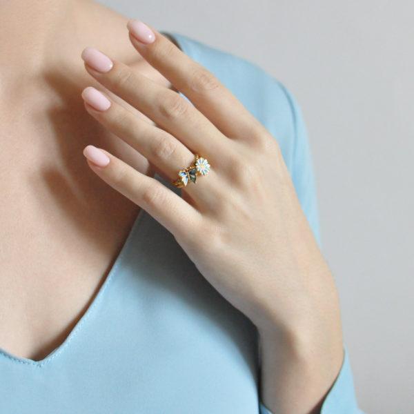 61.202z golubaya 600x600 - Кольцо из серебра «Бабочка» (золочение), голубое
