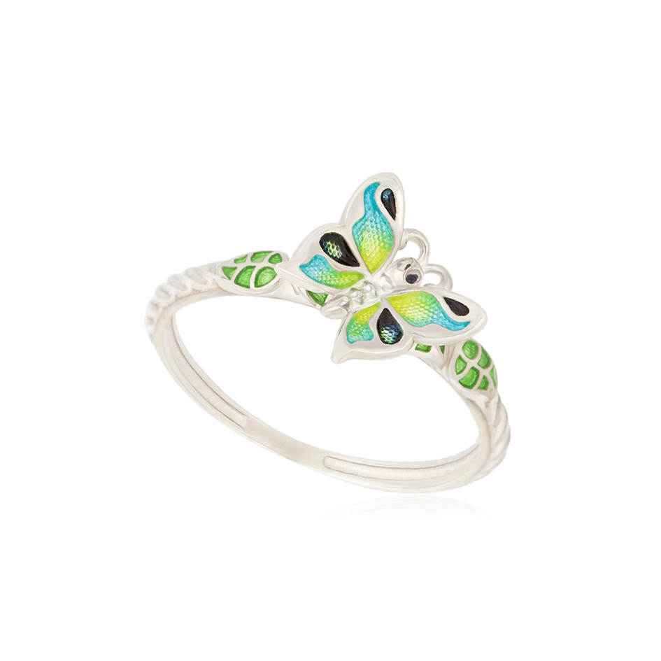 61 202 2s 1 - Кольцо из серебра «Бабочка», зеленое