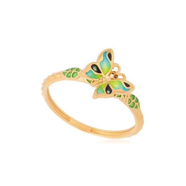 61 202 2z 1 600x600 - Кольцо из серебра «Бабочка» (золочение), зеленое