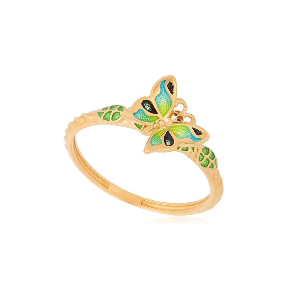 61 202 2z 1 - Кольцо из серебра «Бабочка» (золочение), зеленое