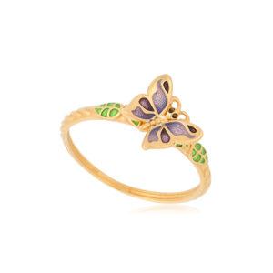 61 202 3z 1 300x300 - Кольцо из серебра «Бабочка» (золочение), фиолетовое
