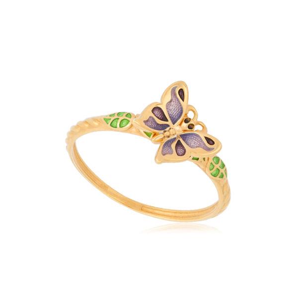 61 202 3z 1 600x600 - Кольцо из серебра «Бабочка» (золочение), фиолетовое