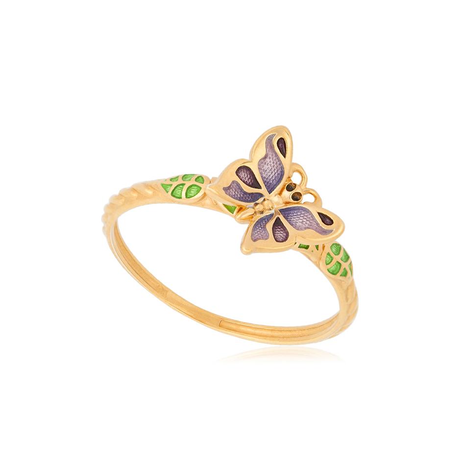 61 202 3z 1 - Кольцо из серебра «Бабочка» (золочение), фиолетовое