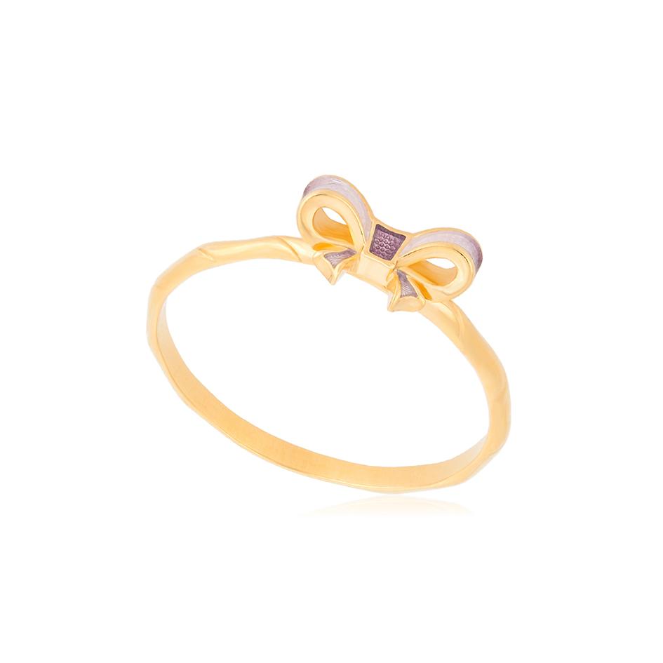 61 203 1z 1 - Кольцо из серебра «Бантик» (золочение), розовое