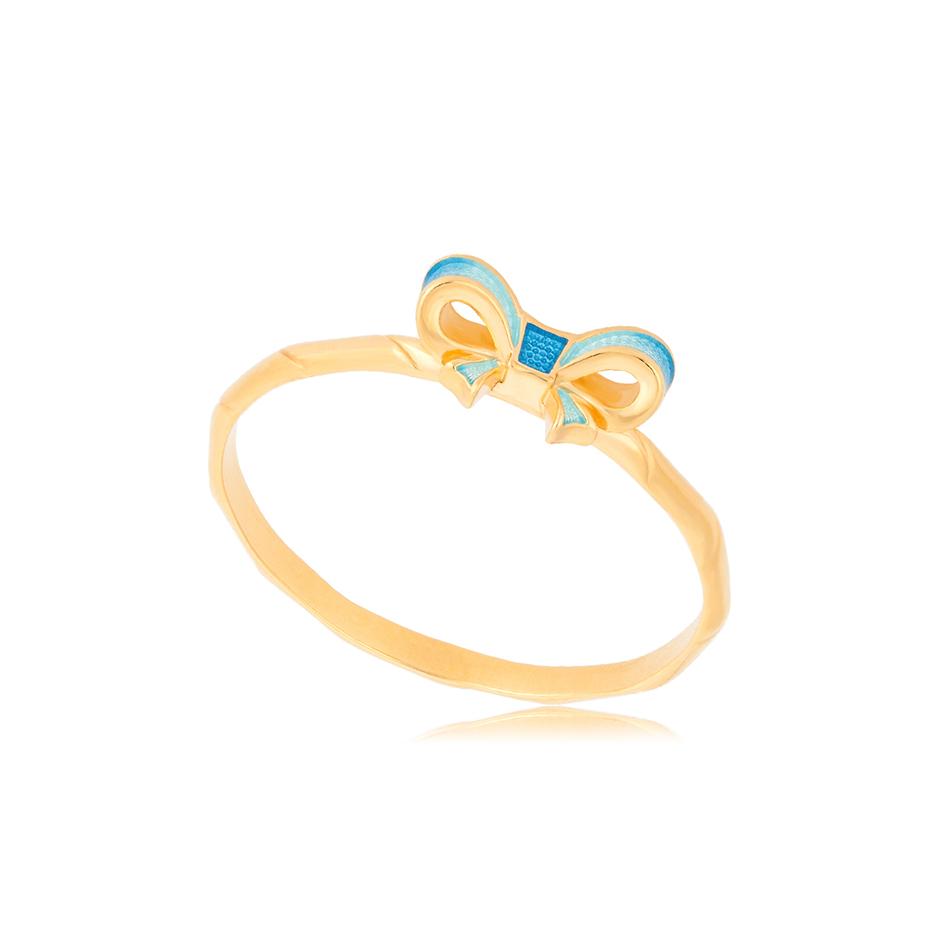 61 203 2z 1 - Кольцо из серебра «Бантик» (золочение), голубое