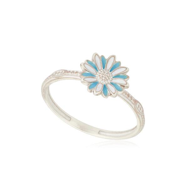 61 206 1s 1 600x600 - Кольцо из серебра «Ромашка», голубое