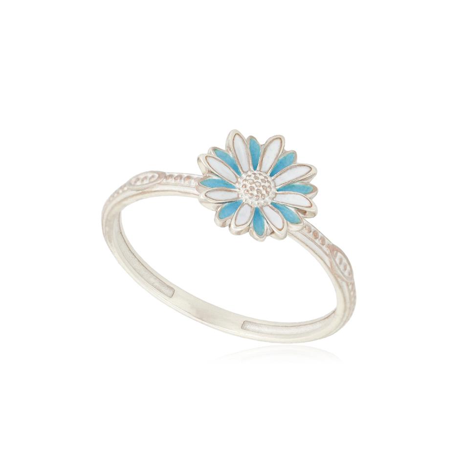 61 206 1s 1 - Кольцо из серебра «Ромашка», голубое