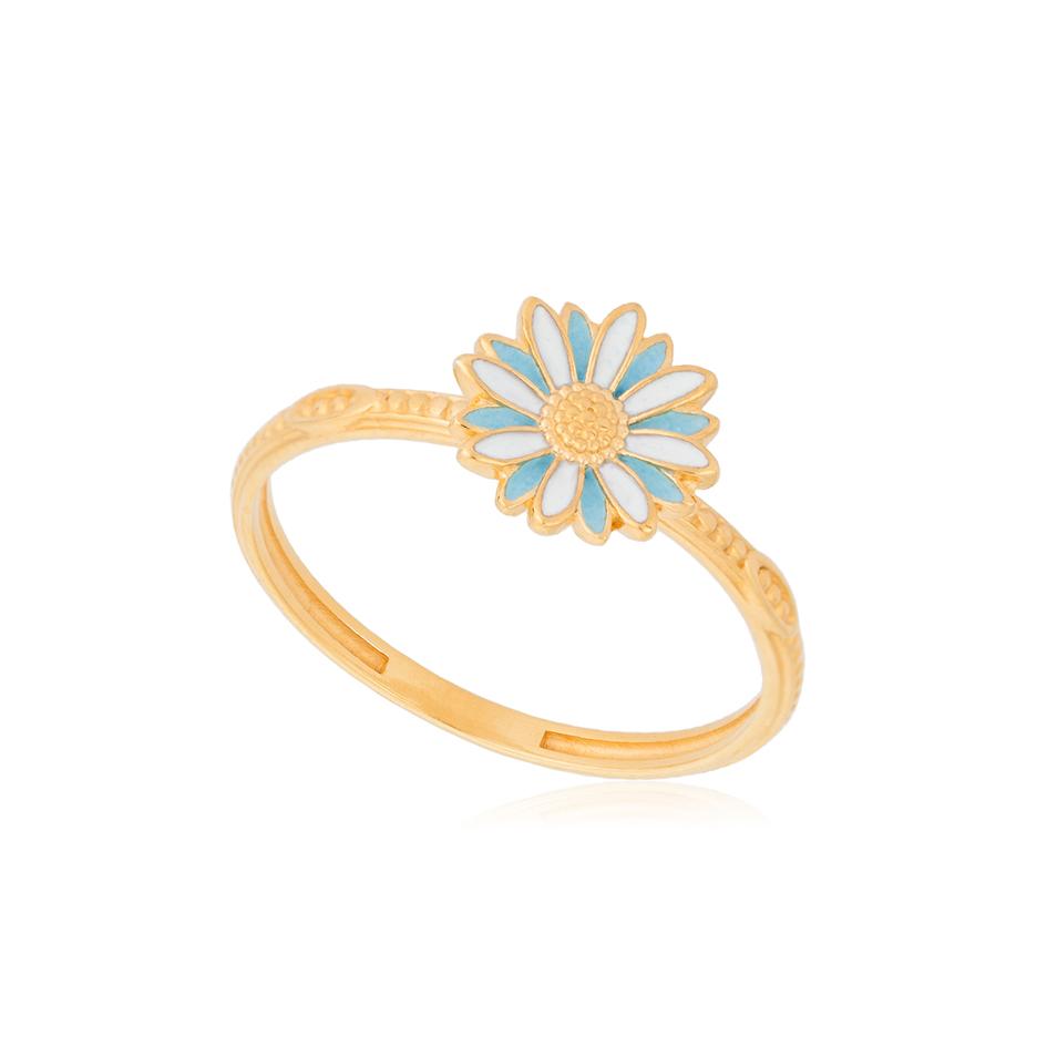 61 206 1z 1 - Кольцо из серебра «Ромашка» (золочение), голубое