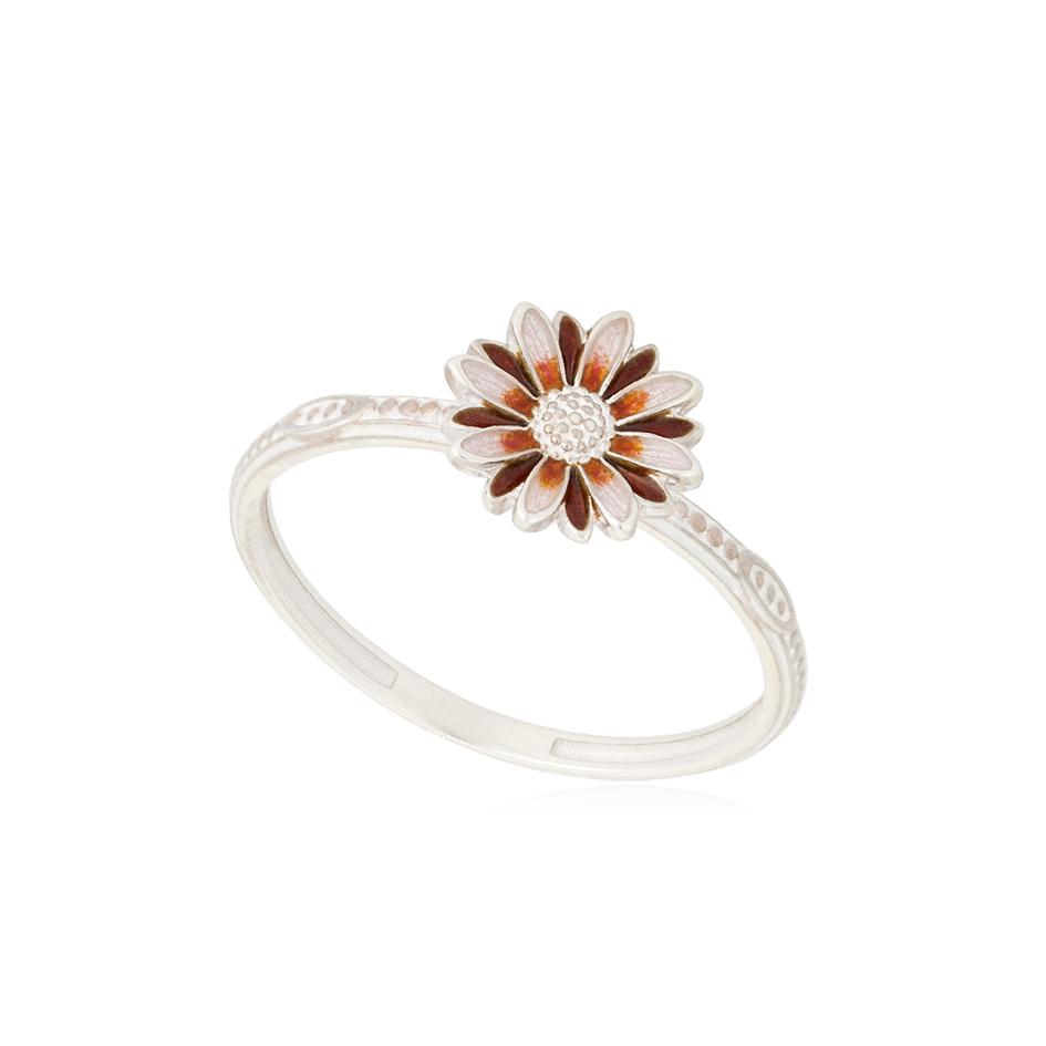 61 206 2s 1 - Кольцо из серебра «Ромашка», розовое