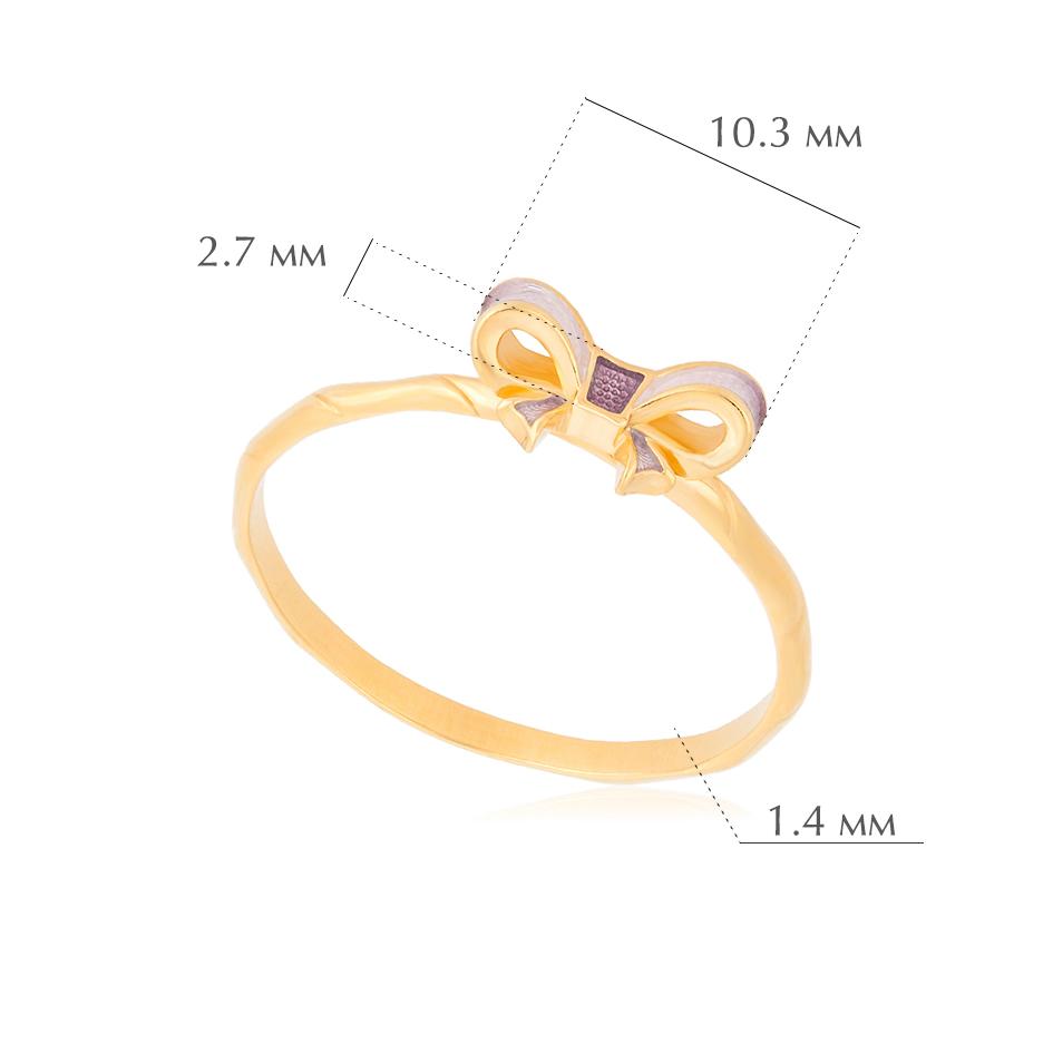 bant 2 - Кольцо из серебра «Бантик» (золочение), розовое